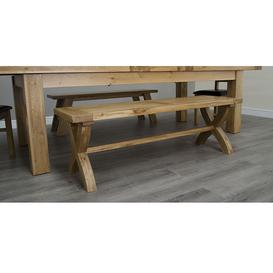image-Deluxe Solid Oak Furniture X Leg Bench