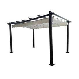 image-Signature Weave Garden Furniture Pergola Retractable Beige Canopy