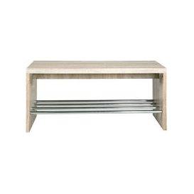 image-Martin Shoe Bench In Light Oak With Chrome Shelf