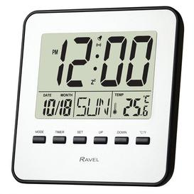 image-Cosford Digital Electric Alarm Tabletop Clock in Silver Ravel