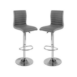 image-Ripple Bar Stools In Charcoal Grey Faux Leather in A Pair