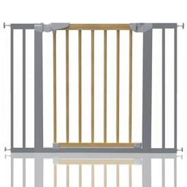 image-Beechwood and Metal Safety Baby Gate