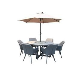 image-LG Outdoor Malmo Fusion 6 Seat Dining Set with Lazy Susan and Parasol