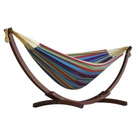 image-Vivere Double Cotton Hammock With Wooden Stand - Tropical