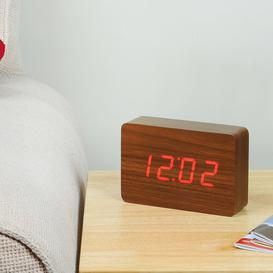 image-Modern Digital Birch Solid Wood Electric Alarm Tabletop Clock Symple Stuff Finish: Walnut/Red