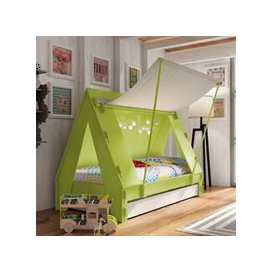 image-Mathy by Bols Kids Tent Cabin Bed with Trundle Drawer - Mathy Apple Green