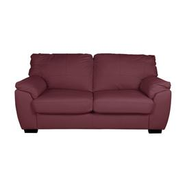 image-Argos Home Milano 2 Seater Leather Sofa Bed - Burgundy