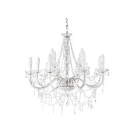 image-Aged-Effect White Metal Drop Bead Chandelier D73