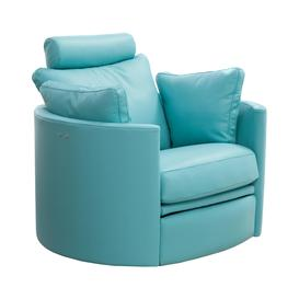 image-Fama Moon Leather Rocking Swivel Chair