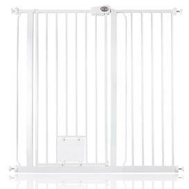 image-Maxen Safety Gate with Lockable Cat Flap Archie & Oscar Finish: White, Size: 104 cm H x 108.4cm W
