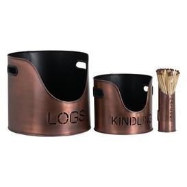 image-Hill Log's Kindling Buckets + Matchstick Holder Copper Finish