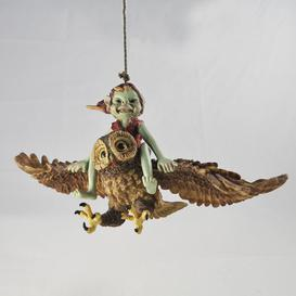 image-Pixie Riding Owl on Rope Hanging Outdoor Garden Statue Happy Larry