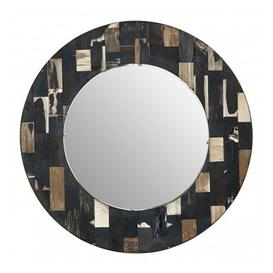 image-Relics Round Mosaic Effect Wall Mirror In Dark Color Frame