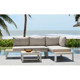image-Portals Aluminium and Teak Corner Outdoor Sofa Set by Lifestyle Garden