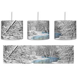image-Beautiful Winter Landscape 1-Light Drum Pendant East Urban Home Shade colour: White/Light grey/Blue