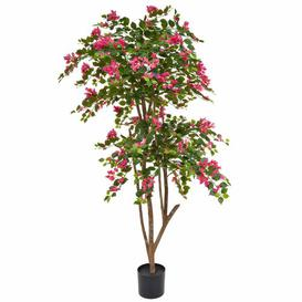 image-Artificial Bougainvillea Flowering Tree Bloomsbury Market Flower/Leaves Colour: Pink/Green