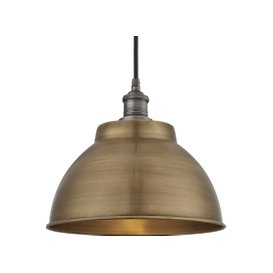 image-Industville Brooklyn Outdoor & Bathroom Dome Pendant - 13 Inch - Brass / Brass / Tube