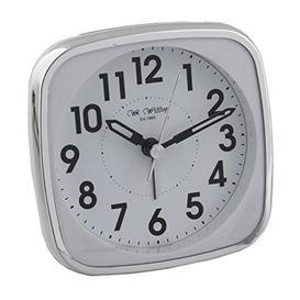 image-Square Alarm Clock - White & Silver