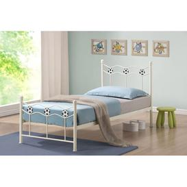 image-Triffin Football Single Frame Bed Just Kids Colour: Ivory