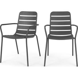 image-Tice Set of 2 Garden Dining Chairs, Grey