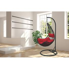 image-Dalrymple Polyrattan Swing Chair with Stand Bay Isle Home Colour (Frame): Black, Colour (Cushion): Red