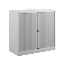 image-Bisley Economy Tambour Cupboard, 100wx47dx102h (cm), White, Free Delivered & Fully Installed Delivery