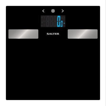 image-Salter Black Glass Analyser Bathroom Scales Black