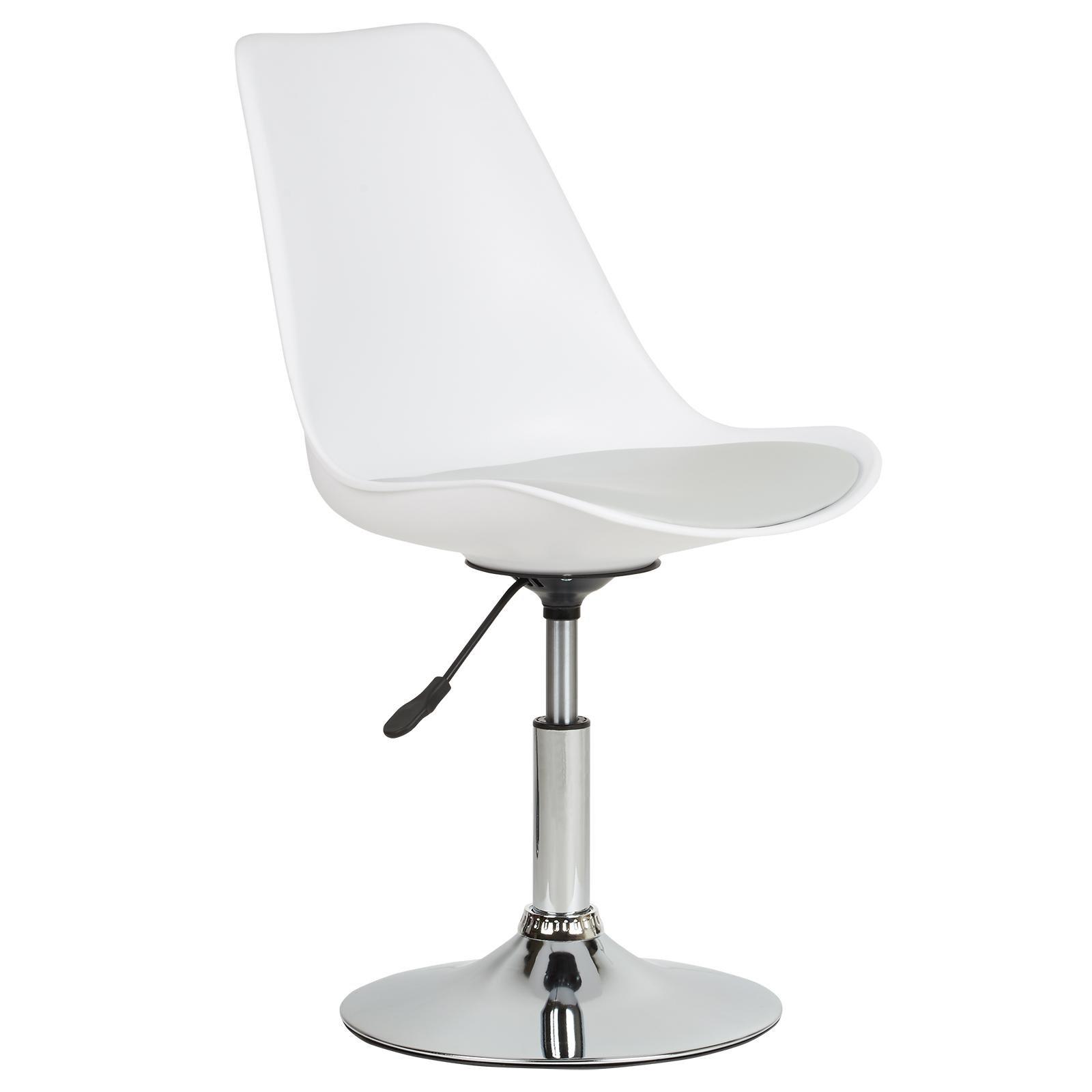 image-Hartleys White Swivel Desk Chair - Chrome Base with Grey Cushion