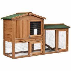 image-2-Floor Large Chicken Coop Wooden Rabbit Hutch W/Removable Tray &Ramp Waterproof