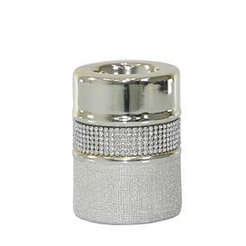 image-Diamante Ceramic Tealight (Set of 2) Rosdorf Park Colour: Champagne, Size: 15cm H x 7.5cm W x 7.5cm D