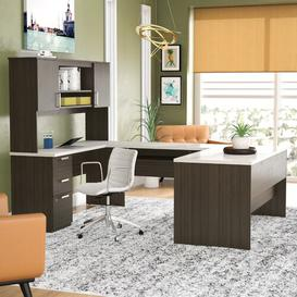 image-Holman U-Shape Executive Desk Ebern Designs Colour (Top/Frame): Dark Chocolate/White Chocolate