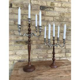 image-Warwick Metal and Wooden Candelabra Marlow Home Co. Size: 40cm H x 33cm W x 33cm D