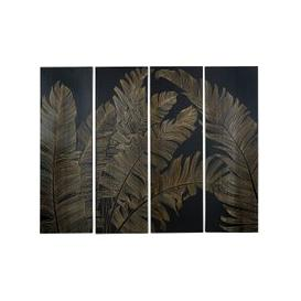 image-Black Paulownia Engraved Foliage Four-Part Wall Art 153x120