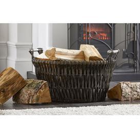 image-Dark Wicker Log Basket with Chrome Handles
