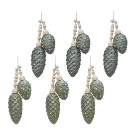 image-A by AMARA Christmas - Pinecone Rustic Tree Decorations - Set of 6 - Sage Green
