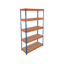 image-Rapid 3 Shelving With 5 Chipboard Shelves 1500wx1800h (Blue/Orange), Blue/Orange, Free Next Day Delivery