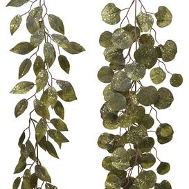 image-A by AMARA Christmas - Glitter Leaf Garland - Set of 2 - Green