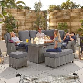 image-Nova Garden Furniture Skylar White Wash Rattan Modular Reclining Corner Dining Set with Fire Pit