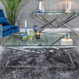 image-Pyramid Coffee Table - Glass and Stainless Steel Chrome - Urban Deco