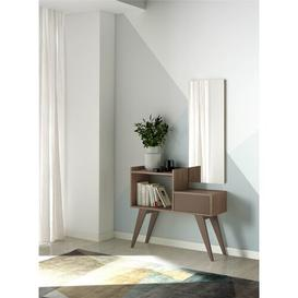 image-Console Table and Mirror Set Herdasa Colour (Table Base): Grey, Colour (Table Top): Walnut