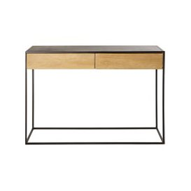 image-Black Metal and Solid Mango Wood 2-Drawer Console Table Wayampi