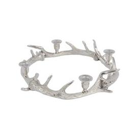 image-Glentory Silver Metal Antlers Wreath Candle Holder