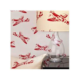 image-Designer Kids Wallpaper- 'Spitfire' in White & Red