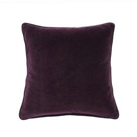 image-Clara Cotton Velvet Square Cushion Purple