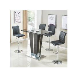 image-Memphis Glass Bar Table In High Gloss Black And 4 Ripple Stools