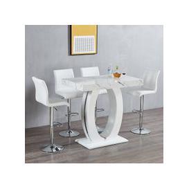 image-Halo Bar Table In Shiny Marble Finish 4 Ripple White Bar Stools