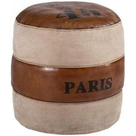 image-Leather and Fabric Paris Round Pouffe