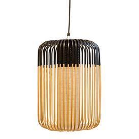 image-Bamboo Light L Outdoor Pendant - H 50 x Ø 35 cm by Forestier Black/Natural wood