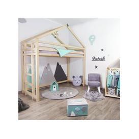 image-Benlemi Toppy Loft Bed - Transparent Wax Finish