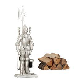 image-Ashlynn 4 Piece Fireplace Tool Set Ophelia & Co. Colour: Silver